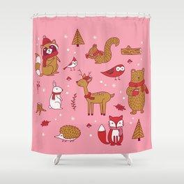 Winter Woodlands - Pink Shower Curtain