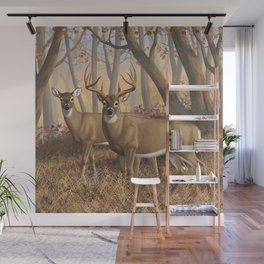 Whitetail Deer Trophy Buck and Doe in Autumn Wall Mural