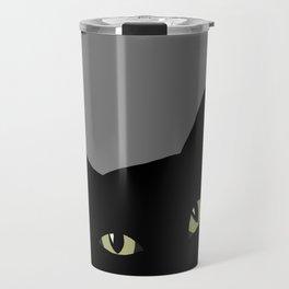 can I pet your cat? no. black cat portrait Travel Mug