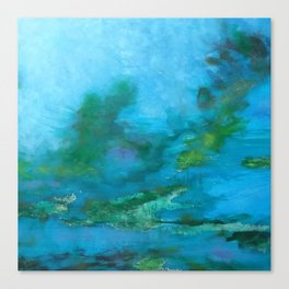 Light Blue Monet´s Theme of Waterlilies Canvas Print