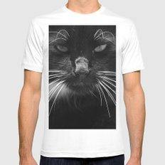 Black Cat MEDIUM Mens Fitted Tee White