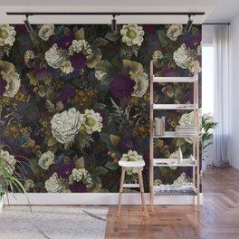 Dutch Vintage Midnight Flower Garden  Wall Mural