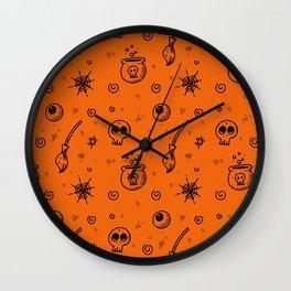 Halloween symbols seamless pattern Wall Clock