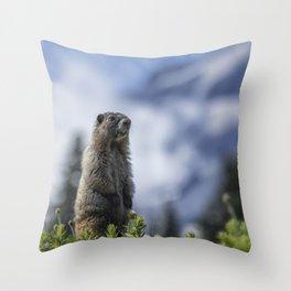 Marmot Checking Out His Neighborhood at Mount Rainier, No. 3 Throw Pillow