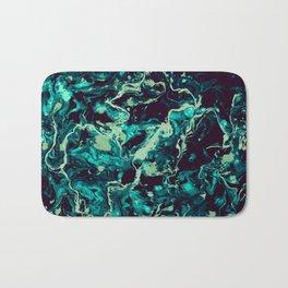 Neon cyan Glow splash on black Liquid paint art Bath Mat