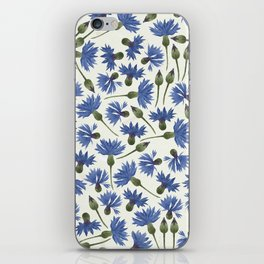 Vintage Pressed Flowers - Blue Cornflower iPhone Skin