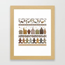 Gingerbread Row Dance in Snow White Framed Art Print