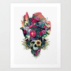 Floral Skull Vivid V Art Print