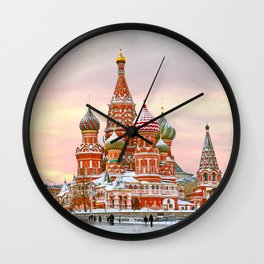 Snowy St. Basil's Cathedral Wall Clock