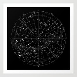 Constellation Map - Black & White Art Print