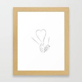 Love couple holding hands Framed Art Print