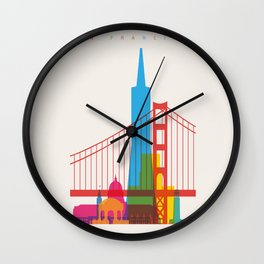 Shapes of San Francisco. Accurate to scale Wall Clock