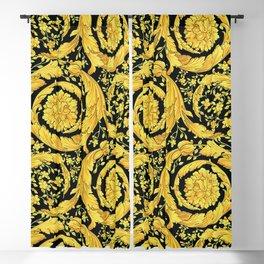 Black Gold Leaf Swirl Blackout Curtain