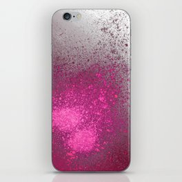 Pink and Grey Spray Paint Splatter iPhone Skin