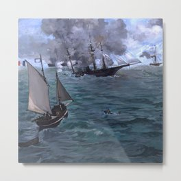 """Édouard Manet """"The Battle of the U.S.S. Kearsarge and the C.S.S. Alabama"""" Metal Print"""