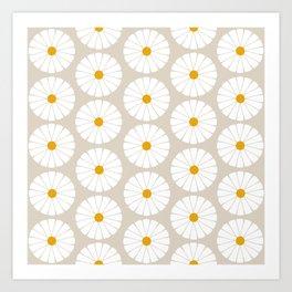Minimal Botanical Pattern - Daisies Art Print