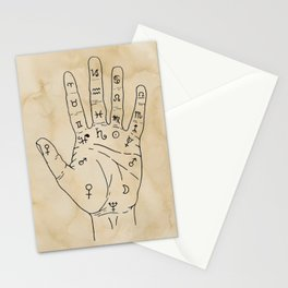 Palmistry Diagram - Palm Reading Chart - Palm Reading Guide Illustration Stationery Cards