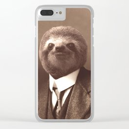 Gentleman Sloth #1 Clear iPhone Case