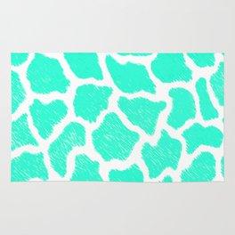 Giraffe Print Pattern Teal Mint Green Ombre Rug
