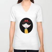 snow white V-neck T-shirts featuring Snow white by Maria Jose Da Luz