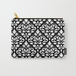 Scroll Damask Big Pattern White on Black Carry-All Pouch