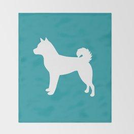 Shiba Inu (Aqua/White) Throw Blanket