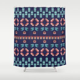 Christmas present sweater pattern Shower Curtain