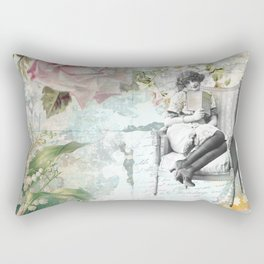 Flappers Vintage Reading Collage Rectangular Pillow