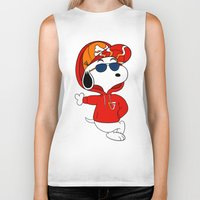 snoopy Biker Tanks featuring The Modern Day Cool Snoopy by XB Designs