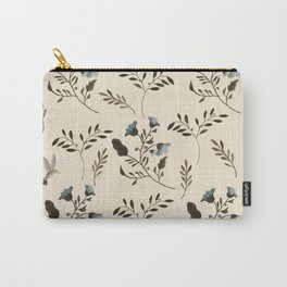 Ivory Cream and Bluebells and Bluebirds Floral Pattern Flowers in Blue and Bark Brown Carry-All Pouch
