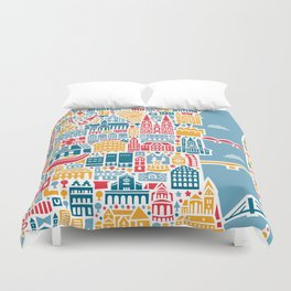 Cologne City Map Poster Duvet Cover