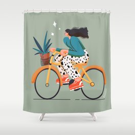 girl on bicycle for  rider Shower Curtain