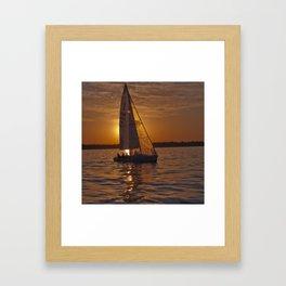 Sail into the sunset Framed Art Print
