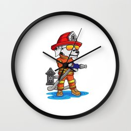 Firefigher Dog Dalmatian Fire Department Present Gift Cartoon Brigade Wall Clock