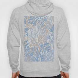 Modern hand painted blue brown watercolor reef coral floral Hoody
