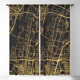 ALBUQUERQUE NEW MEXICO GOLD ON BLACK CITY MAP Blackout Curtain
