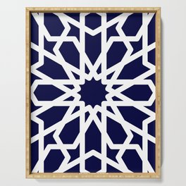 Moroccan Grid Blue Serving Tray