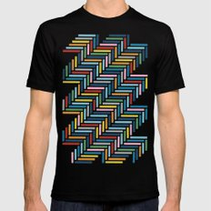 Herringbone 45 Colour Black Mens Fitted Tee MEDIUM