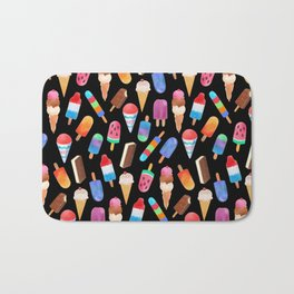 Black Summer Ice Cream and Popsicles Bath Mat