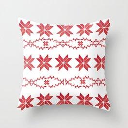 Scandinavian inspired print with red mini stars Throw Pillow