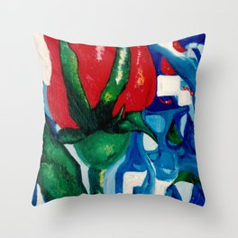 Red rose stained glass Throw Pillow