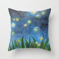 fireflies Throw Pillows featuring Fireflies by Kristen Fagan