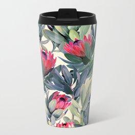 Painted Protea Pattern Metal Travel Mug