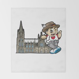 I LOVE COLOGNE Cathedral Germany Rhine Church Throw Blanket