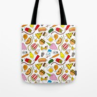junk food Tote Bags featuring Junk food doodle by Waffleme & Co.