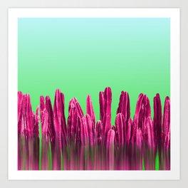 Vibrant Sunrise Cactus Landscape Glitch Art Print