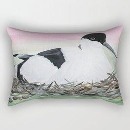 Nesting Avocet Watercolour Rectangular Pillow