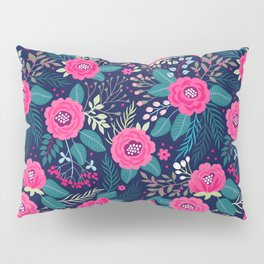 Floral pattern. Bright beautiful roses on a blue background. Pillow Sham