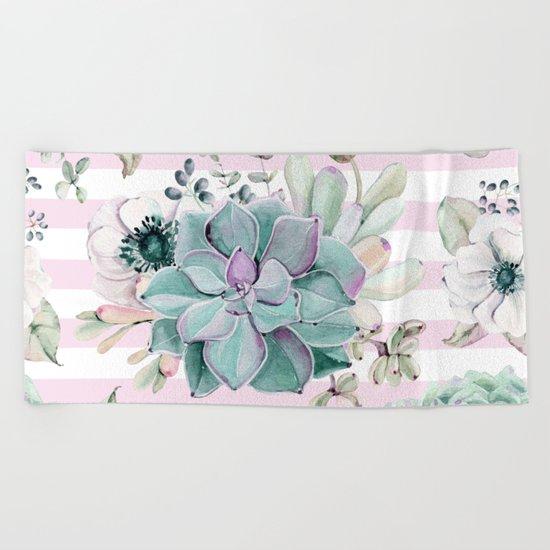Simply Succulent Garden on Desert Rose Pink Striped Beach Towel