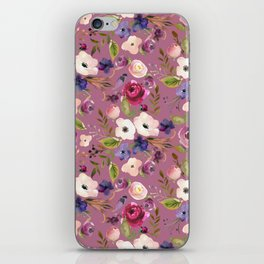 Pastel pink green blue violet watercolor floral pattern iPhone Skin